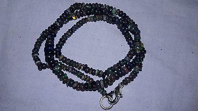 28 Cts Black Ethiopian Welo Multi Fire Opal Handmade Beads Necklace 14 Inch