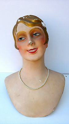 Great  antique French paper maché mannequin head,1920´s,marotte, flapper girl,