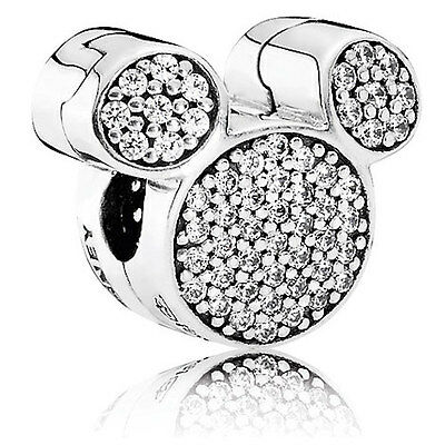 MICKEY MOUSE EARS CZ 925 Sterling Silver Solid European Charm Bead for Bracelet