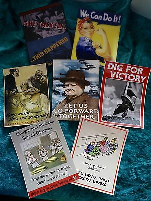 Set 7 Wartime Slogan postcards Dig for Victory She Talked We Can Do It Coughs