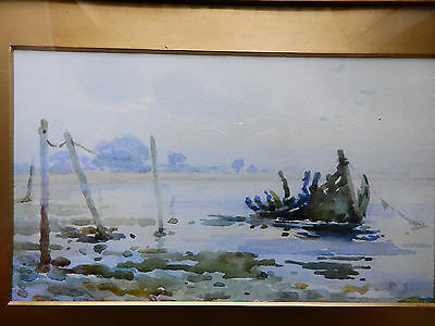 gilt framed,glazed 20th Century,  watercolour landscape with old boat