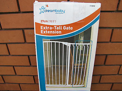 """Dreambaby 1 metre Extra-Tall Gate Extention 27cm (10.5"""") F194W. complete in box"""