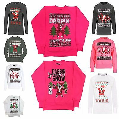 Boys Girls Xmas Funny watch Me Whip Dabbin Through The Snow Retro Sweatshirt Top