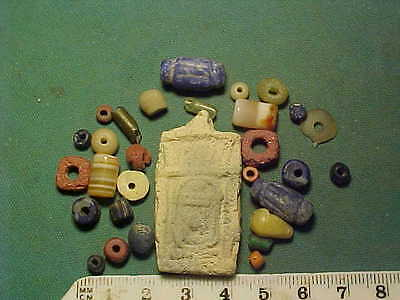 30+ ancient beads circa 1000 BC-700 AD + Egyptian faience  amulet