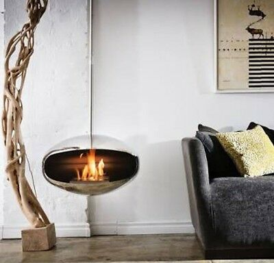 Cocoon Aeries Beautiful stainless steel ethanol hanging fireplace RRP $3,999