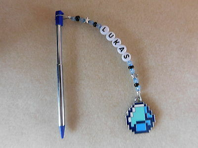 Personalised 3DS Stylus Pen with charm Minecraft Diamond