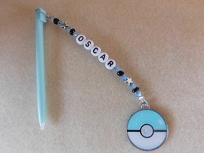 Personalised DSi DS Lite Stylus / Pen with charm Pokemon Ball Blue