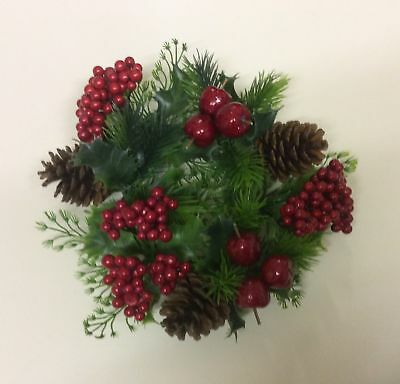 """New 3"""" Christmas Candle Ring Decoration Red Berry & Fruits"""