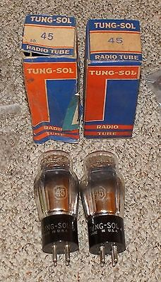 M. Pair Tung Sol 45 /  Ux-245 St Tube -  Nos With Original Boxes - #1