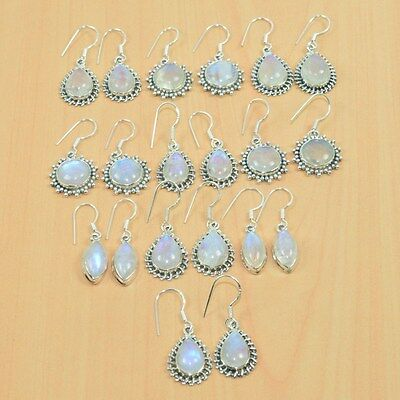 925Solid Sterling Silver Wholesale 10Pair Natural Rainbow Moon Stone Earring Lot