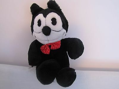 "RARE!! 1988 ""Felix The Cat"" Plush Stuffed Doll - Sitting Down with Red Bow Tie"