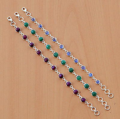 3Pc Wholesale 925 Solid Sterling Silver Natural Moon Stone Bracelet Lot