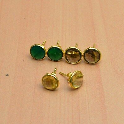 925 Solid Sterling Silver &24K Gold Overlay Wholesale 3Pair Citrine Earring Lot