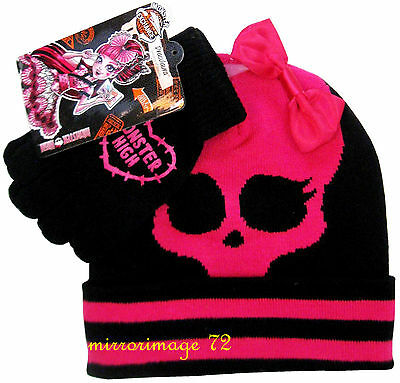 Monster High Beanie Knit Hat and Gloves Set Girl - One Size