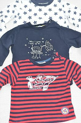Small Bundle of Little Boys Long Sleeve T Shirts Tops UK Age 6-9 Months