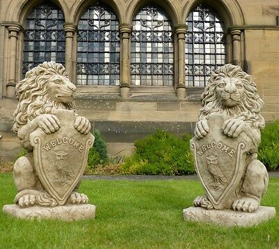 PAIR OF LARGE WELCOME LIONS Bespoke Cast Stone Statue Pillar Caps Giant Heavy