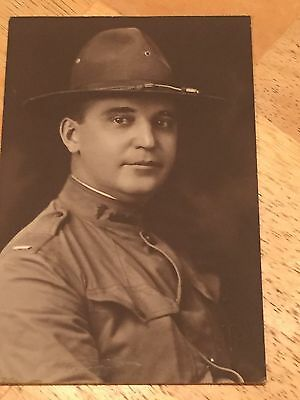 """WWI US Army 4""""x6"""" Photo of Soldier USR Medic Collar Insignia"""