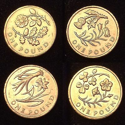 L@@K Set of 4 Floral £1 Coins Pound Coins -England, Scotland, Wales, N Ireland