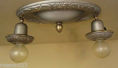 Vintage Lighting matched pair with pewter like original finish