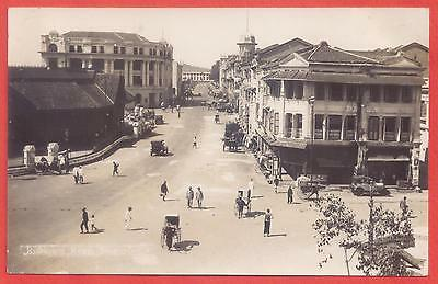 Singapore 1930s RPPC Robinson Road; Lau Pa Sat at left and Cable & Wireless