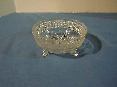Vintage 3 Footed Flowered Pressed Glass Candy Dish Bowl