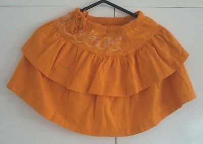Age 3-4 E-vie tiered skirt - orange with embroidery & sequins