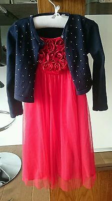 monsoon red Christmas/party dress (age4) & m&s navy bolero 3-4years. IMMAC COND!