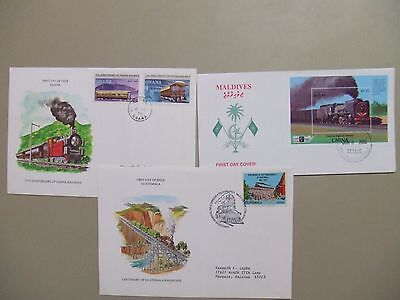 Three fdc with LOCOMOTIVES stamps