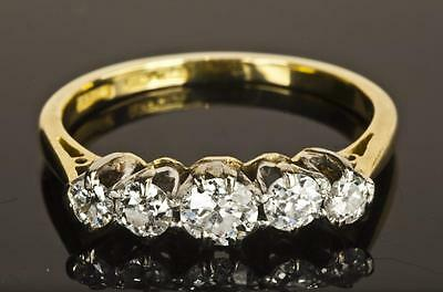 AN ANTIQUE SOLID 18ct GOLD & PLATINUM 0.50ct DIAMOND 5 STONE RING SIZE L/M (6)