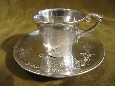 1900 french sterling silver demi tasse cup art nouveau business card