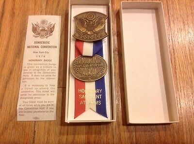 1976 Democratic National Convention Sergeant At Arms Medal Badge Jimmy Carter