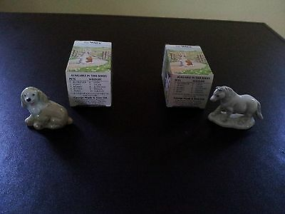 Vintage England Wade Whimsies Land Puppy/Dog and Horse/Pony With Original Boxes
