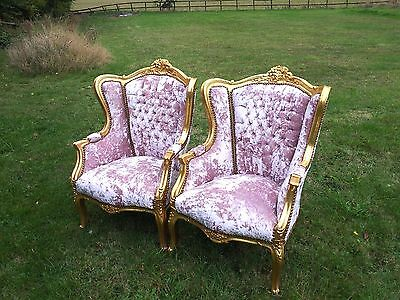 Pair Of Antique Countess Champagne  Crushed Velvet Sumptuous French Arm Chairs