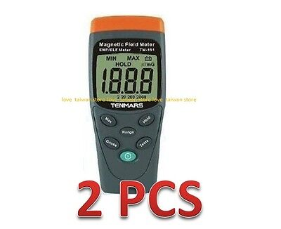 2 Pcs (DHL Ship) - New TENMARS TM-191 Magnetic Field Meter EMF/ELF LCD Display