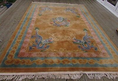 Two Superb Rare Matching Pair Of Antique Chinese Hand Made Wool Carpets