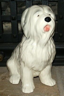 Kingston Pottery Hull Old English Sheepdog Figure 9 inches tall