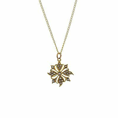 Antique Seed Pearl Flower Pendant Necklace 9Ct Gold - Antique Jewellery