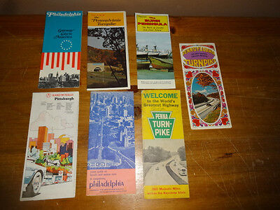 Lot of 7 Early Pennsylvania Road Maps & Brochures