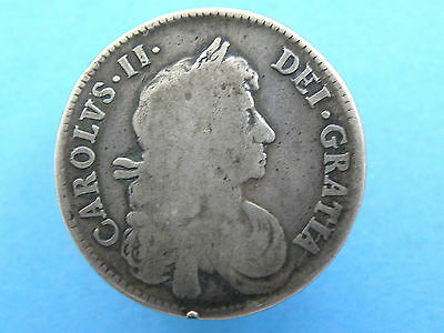1671 King Charles II SILVER HALFCROWN COIN - High Book Value Coin