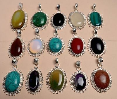 WHOLESALE LOT 15 Pcs CORAL & Mix GEMSTONE.925 SILVER OVERLAY PENDANT Jewelry