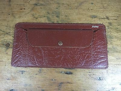 Vintage brown leather notes wallet coin purse unused