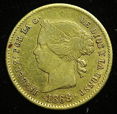 1868 2 Pesos Spain-Philippines Gold Coin - lot#8