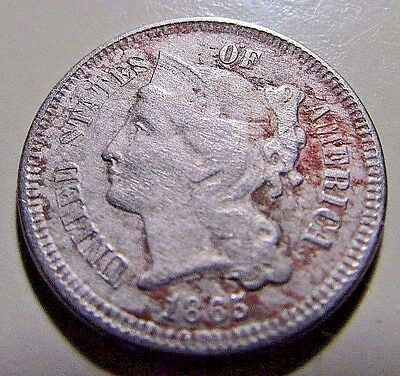 1865  3 Cent Nickel***VG Or Better Mid Grade Details--Early Date***