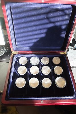 1976 Montreal Olympics Silver Coins 12 x $5 - Box (1973 - 1976) in Display case