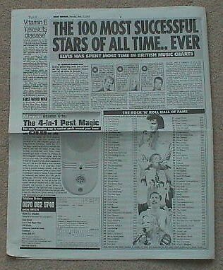 2005 Daily Mirror 19 May Newspaper Cutting 100 Most Successful Stars Elvis Cliff