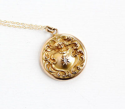 Antique 10k Solid Rose Gold Knight in Armor Diamond Locket Necklace - Late 1800s