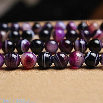 "8mm Purple stripes Agate Round Loose gemstone Beads 15""L/1stand"