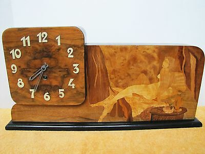 Antique Art Deco Wooden Inlaid Nude Lady Mantel Clock