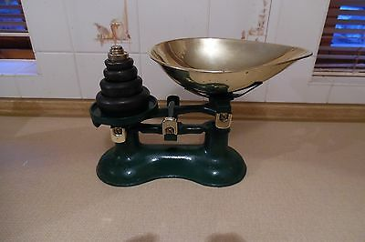 Vintage Green Victor England Kitchen Scales-Weights & Brass Bowl Shabby Cottage