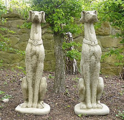 Pair of LIFE SIZE Sitting Greyhound Statues Dogs Garden Ornament Bespoke Whippet
